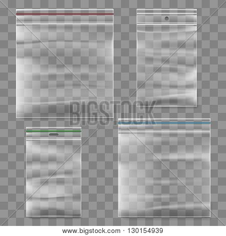Plastic zipper bag vector template. Transparent ziplock bags icons.