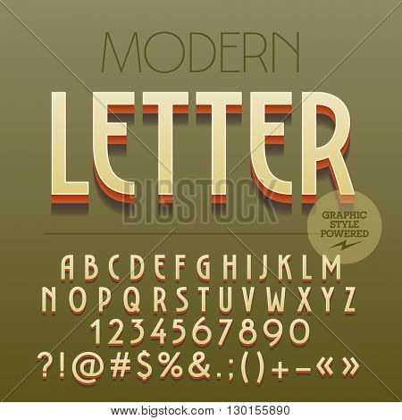 Retro styled 3D Art Deco set of alphabet letters, numbers and punctuation symbols with shadow