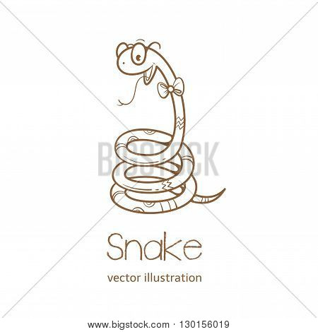 Summer card with cute cartoon  snake  in  glasses.  Vector contour image. Children's illustration. Transparent background.