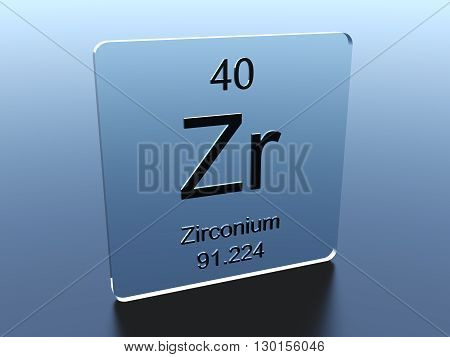 Zirconium symbol on a glass square 3D render