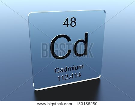 Cadmium symbol on a glass square 3D render