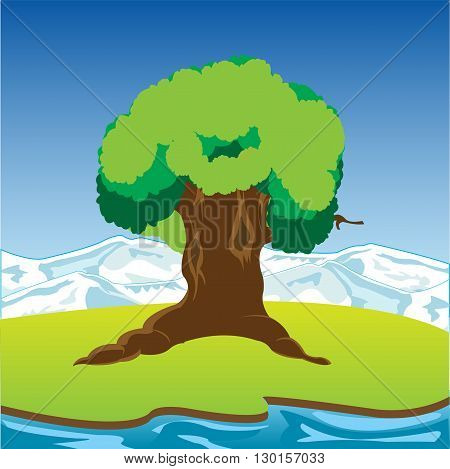 The Big tree on riverside glade.Vector illustration