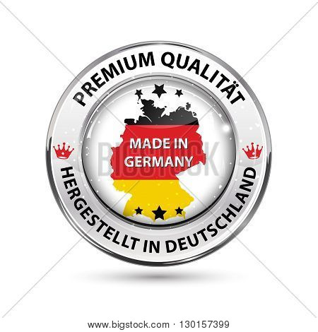 Premium Quality. Made in Germany ( text translation: Premium Qualitat; Hergestellt in Deutschland) - shiny icon / badge / label with German map and Flag colors