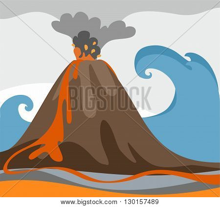 Against the background of rising ocean with a big wave erupting volcano. Colored, flat picture. From a volcano is ash and fiery magma.
