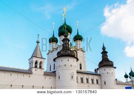 Rostov Veliky, Russia- Domes of churches in the Kremlin