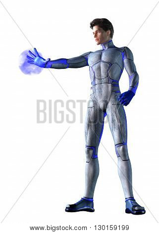 3d CG illustration of Sci Fi super hero character