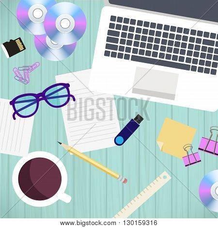 Top view of office workplace and accessories on wood table. Vector illustration in flat style design. Business work flow concept laptop coffee documents.