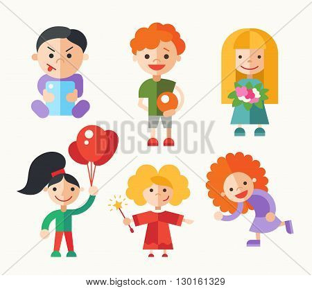 Children and their activities - modern vector flat design characters set. Boys and girls playing, role playing, holding ball, ballons, flowers
