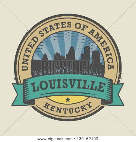 Grunge rubber stamp or label with name of Louisville, Kentucky, vector illustration