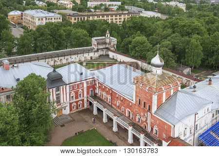 Vologda, Russia - May 26: These are bishop's yard and walls of the Vologda Kremlin from the height of the bell tower of the Kremlin May 26, 2013 in Vologda, Russia.