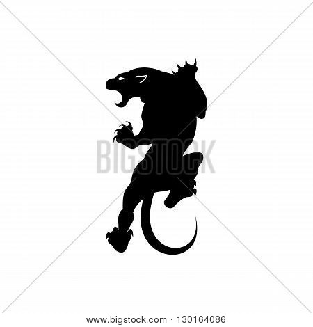 Roaring panther predator silhouette tattoo vector illustration isolated on white background.