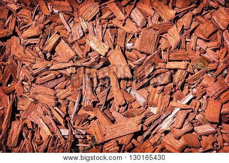 Natural background of red mulch. Close up photo.