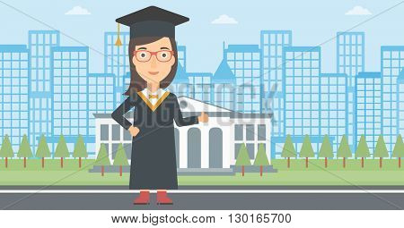 Graduate showing thumb up sign.