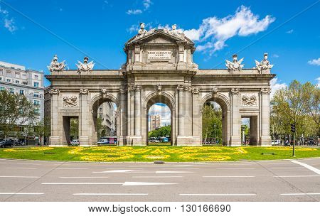MADRID,SPAIN - APRIL 24,2016 - Alcala Gate in Madrid. The Alcala Gate(Puerta de Alcala) is a Neo-classical monument in the Independent Place in Madrid.