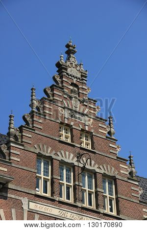 Crow-stepped gable on an ancient building in the Netherlands