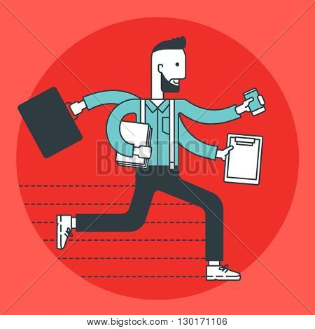 Busy businessman running.