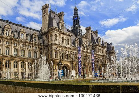 Paris, France - May 13: This is Paris City Hall known as Hotel de Ville May 13, 2013 in Paris, France.