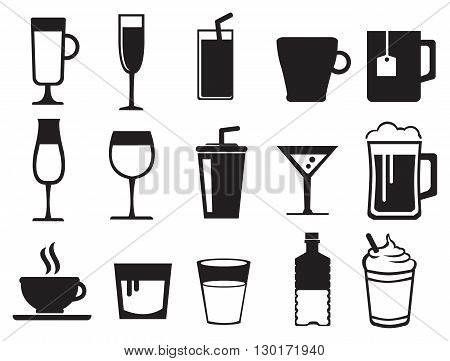 Black and white vector icon set of drinks in variety of glasses and cups isolated on white background.