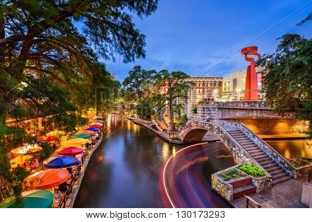 San Antonio, Texas, USA cityscape at the Riverwalk.