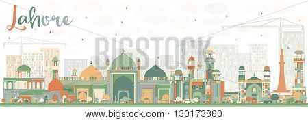 Abstract Lahore Skyline with Color Landmarks. Business Travel and Tourism Concept with Historic Buildings. Image for Presentation Banner Placard and Web.