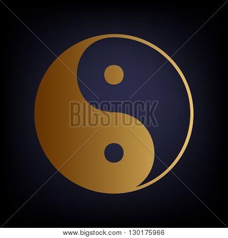 Ying yang symbol of harmony and balance. Golden style icon on dark blue background.