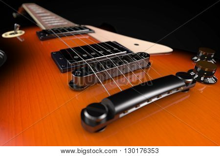 3D computer rendering of a Electric Guitar on black background