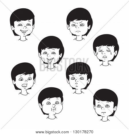 Child face emotion gestures black and white vector illustration set collection. Boy smiling laughing angry crying showing tongue whistles thoughtful