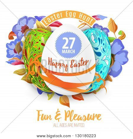 Easter egg hunt in the flowers design EPS 10 vector royalty free stock illustration for greeting card, ad, promotion, poster, flier, blog, article background.