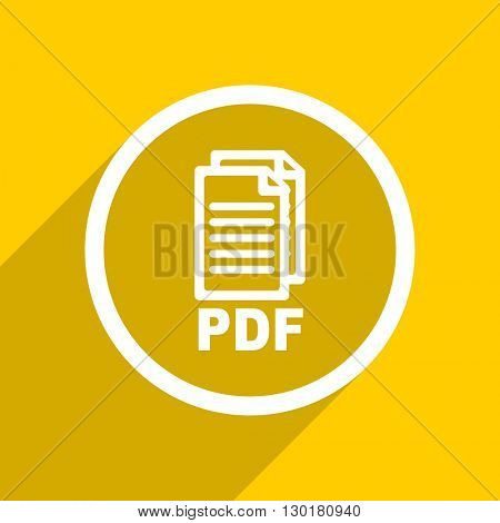 yellow flat design pdf web modern icon for mobile app and internet,