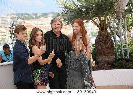 Nicholas Hamilton, Samantha Isler, Charlie Shotwell, Viggo Mortensen, Shree Crooks, and Annalise Bassoattends 'Captain Fantastic' Photocall during Cannes Film Festival on May 17, 2016 in Cannes .