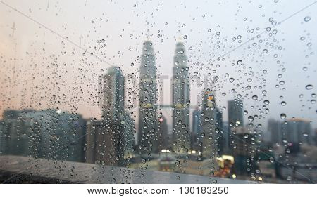 View to the Twin Towers in Kuala Lumpur on a rainy afternoon