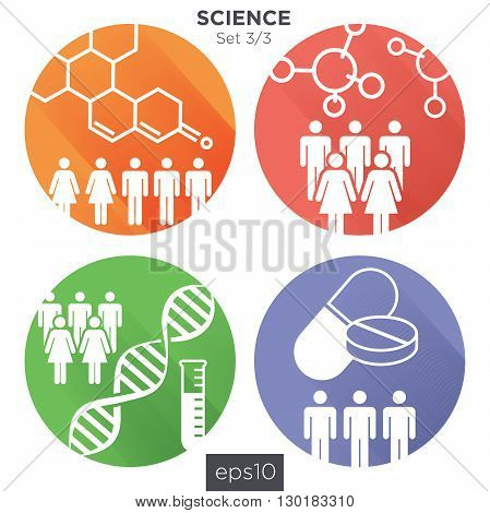 3/3 Round Medical Healthcare Icons with People Charting Disease or Scientific Discovery