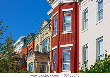 Luxury brick townhouses of Washington DC USA. Colorful residential row houses in US Capital on in spring.