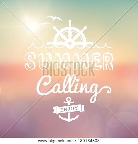 Enjoy Summer calling Sunset vector text typography vintage poster. Summer label isolated from vector summer sunset background.
