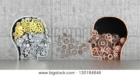 Metal mechanism as human profiles embedded in the wall.3D illustration