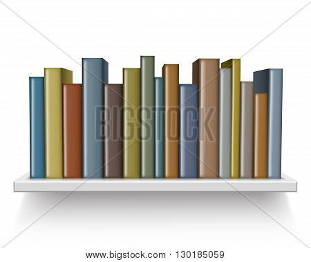 Old book on the shelf isolated on a white background. vector illustration.