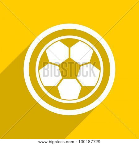 yellow flat design soccer web modern icon for mobile app and internet