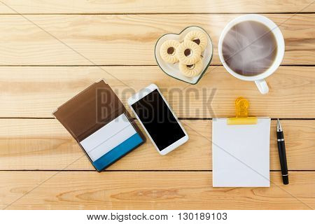 Blank Memorandum Note Book With Mobile Or Cellphone, Hot Black Coffee , Cookie And Blank White Card