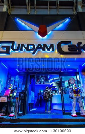 TOKYO JAPAN - NOVEMBER 25 2015: Opened in 2010 Gundam Cafe is a miniature Gundam theme park-like cafe situated in Akihabara Electric Town