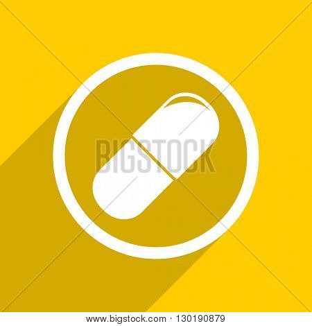 yellow flat design drugs web modern icon for mobile app and internet
