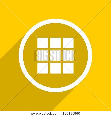 yellow flat design thumbnails grid web modern icon for mobile app and internet