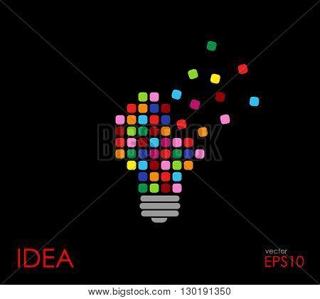 Idea concept. Colorful cubics in light bulb.