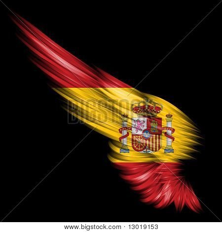 The Abstract wing with Spain flag on black background poster