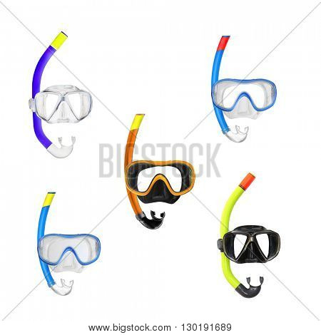 Collection of different Dive Masks with snorkel isolated on a white background. Design elements for beach holidays themes. Sport and leisure.