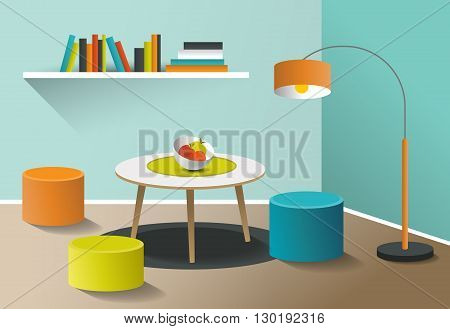 Interior living room. Retro minimalism design. Art cartoon vector.