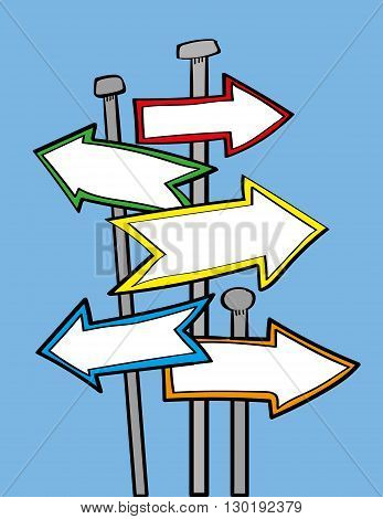 Arrow signposts or street signs pointing in different directions with copy space for your text