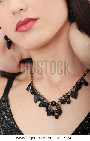Neckles on elegant woman neck