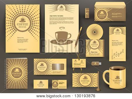 Beige branding design for coffee shop, coffee  house, cafe, restaurant. Corporate Identity kit with logo. Business stationery mockup with folder, envelop, mug, pencil, badge, flag, pennant.