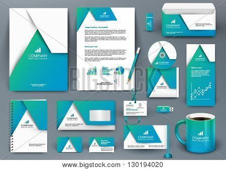 Professional universal blue branding design kit with origami element. Corporate identity template, business stationery mock-up for real estate company. Editable vector illustration: folder, mug, etc.