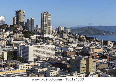 View towards Russian Hill from the Financial District in downtown San Francisco.